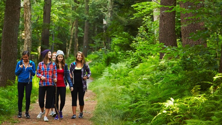 teens waling together in woods